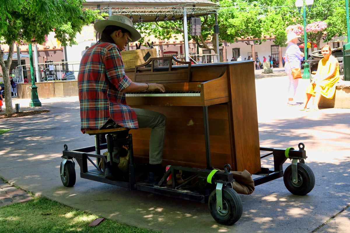 This piano player on wheels in the Plaza was incredible, playing song after song with no sheet music.