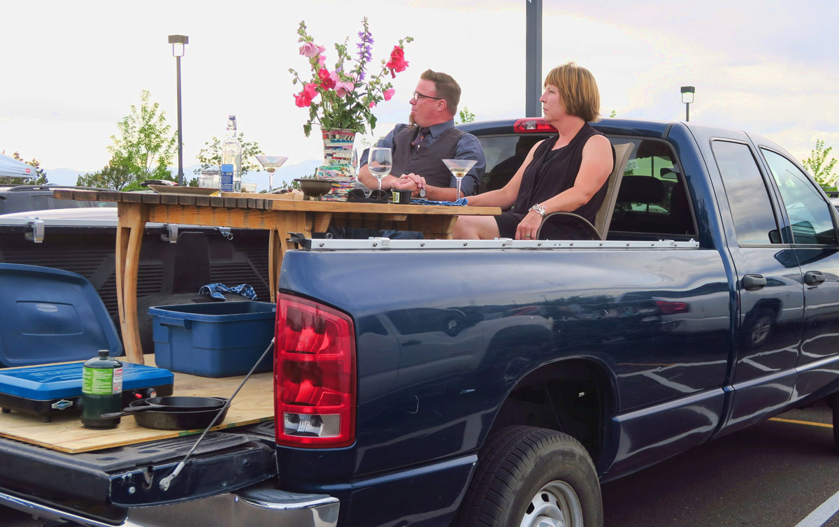 These guys had their entire dining table in the bed of their truck!