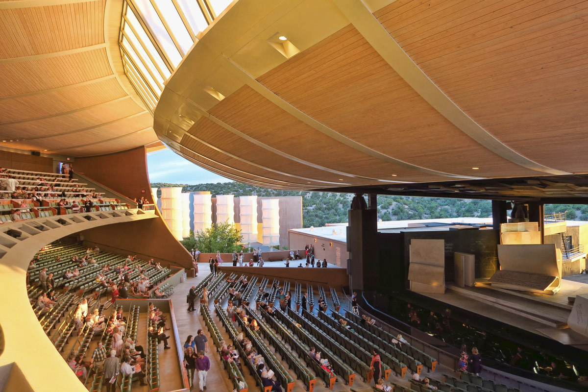 Though the lower and upper roof are connected via a series of windows, the sides and back of the stage are open.