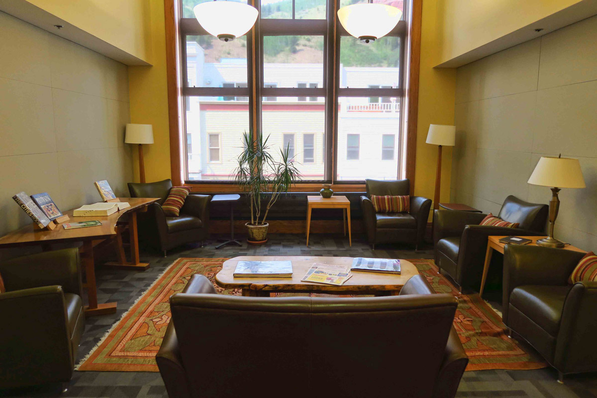 One of the cozy seating areas in the Wilkinson Public Library in Telluride.